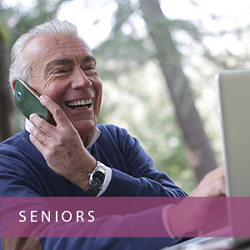 Seniors - seniior laughing on phone