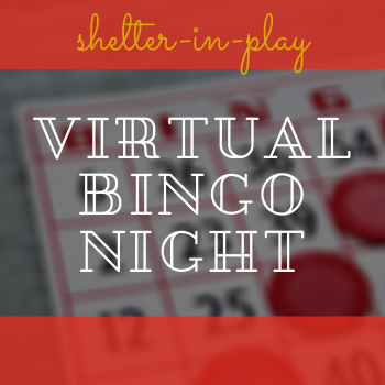 shelter in play virtual bingo night red and gold letters over bingo card