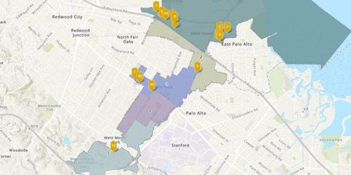 Map screenshot of current and pending development projects in Menlo Park