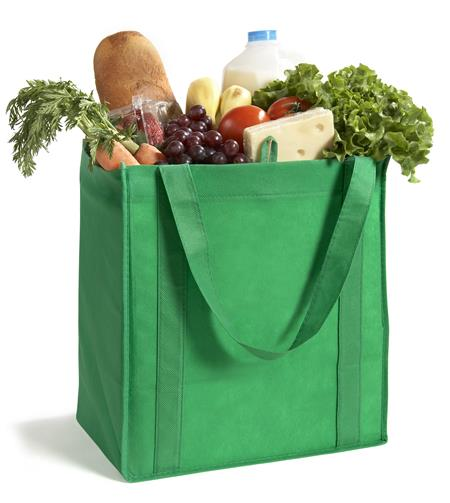 Green bag filled with groceries